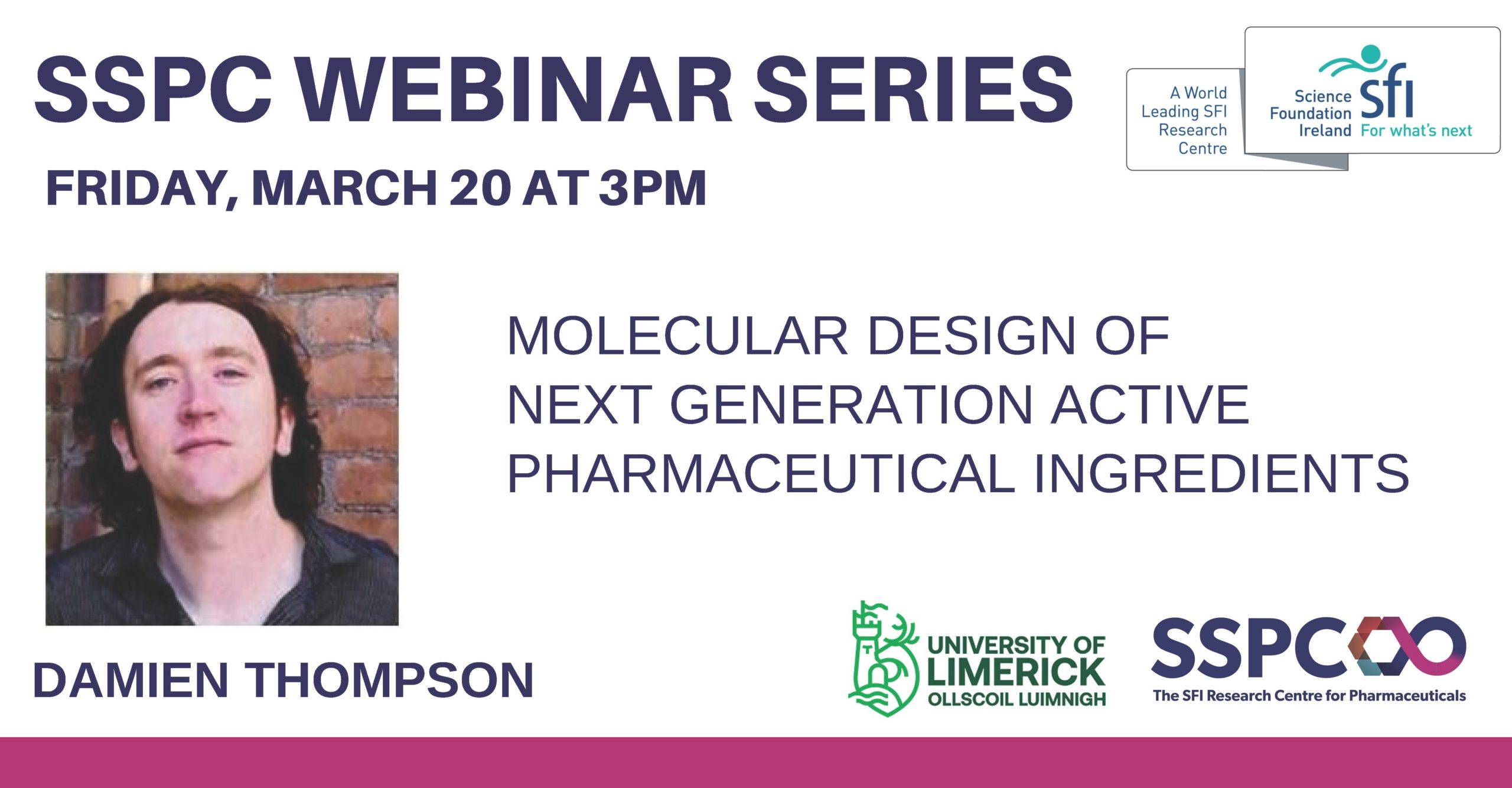 SSPC Webinar Series: Molecular design of next-generation API's